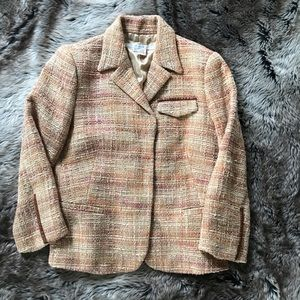 Zara tweed blazer with cute faux leather details!